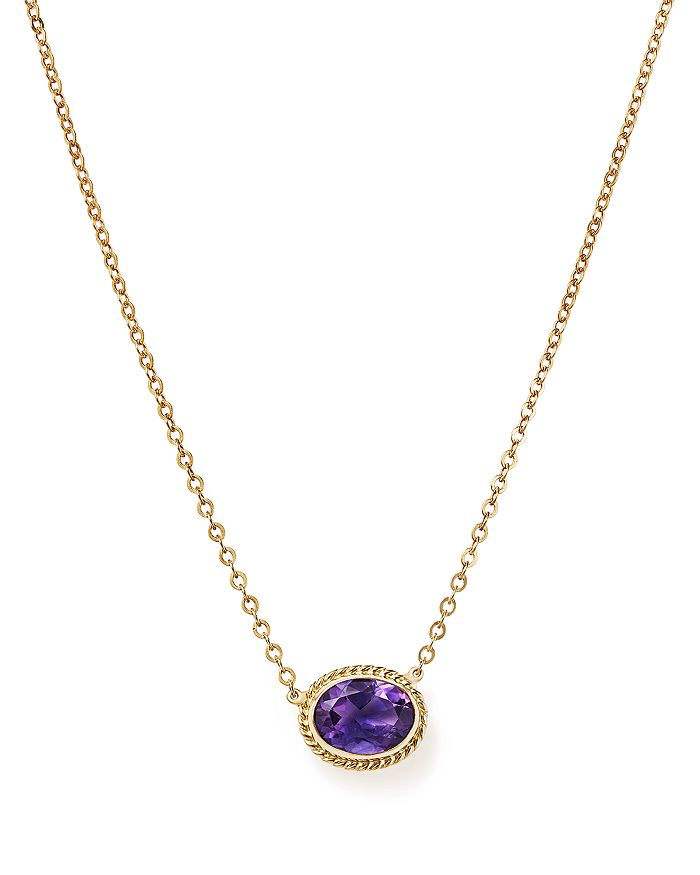 "Bloomingdale's - Amethyst Bezel Pendant Necklace in 14K Yellow Gold, 18"" - 100% Exclusive"