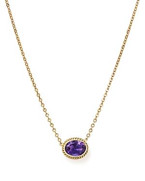 Amethyst Bezel Pendant Necklace in 14K Yellow Gold