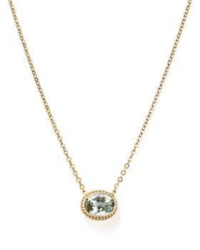 "Bloomingdale's - Prasiolite Bezel Pendant Necklace in 14K Yellow Gold, 18""- 100% Exclusive"