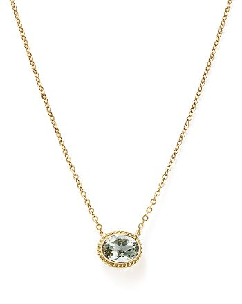 "Bloomingdale's - Prasiolite Bezel Pendant Necklace in 14K Yellow Gold, 18"" - 100% Exclusive"
