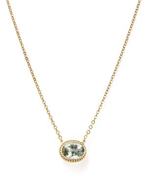 Green Amethyst Bezel Pendant Necklace in 14K Yellow Gold, 18 - 100% Exclusive