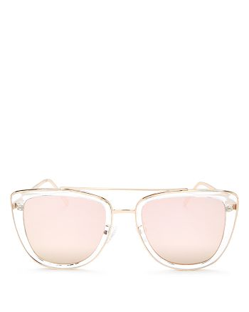 Quay - Women's French Kiss Mirrored Oversized Brow Bar Square Sunglasses, 54mm
