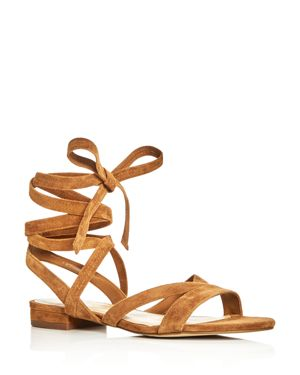 Ivanka Trump Crisa Suede Lace Up Ankle Tie Sandals