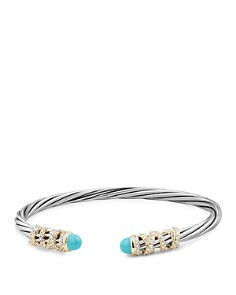 David Yurman - Helena End Station Bracelet with Turquoise, Diamonds and 18K Gold