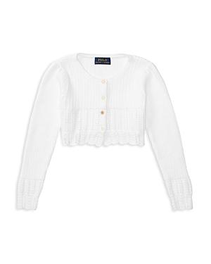 Ralph Lauren Childrenswear Girls' Pointelle Stitch Cropped Cardigan - Sizes 4-6X