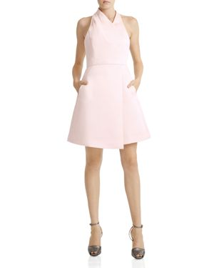 Halston Heritage Satin Faille Halter Dress
