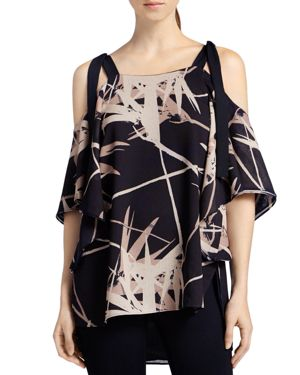 Halston Heritage Printed Shoulder Tie Top