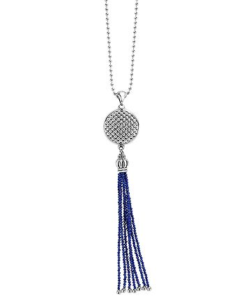 LAGOS - Sterling Silver Maya Escape Lapis Disk Tassel Pendant Necklace, 34""
