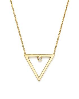 "Zoë Chicco - Zoë Chicco 14K Yellow Gold Diamond Open Triangle Necklace, 16"""