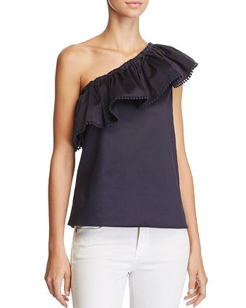 AQUA - Ruffle One Shoulder Top - 100% Exclusive