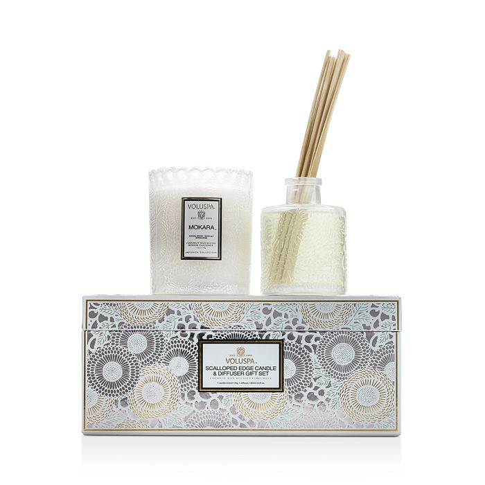 Voluspa - Mokara Scalloped-Edge Candle and Diffuser Gift Set
