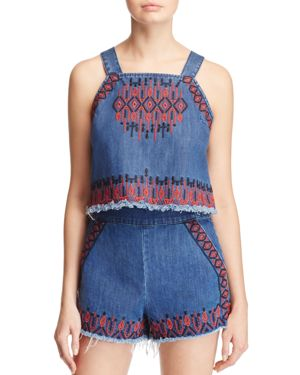 Blanknyc Embroidered Denim Top