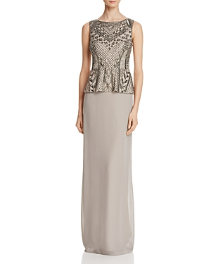 Adrianna Papell Embellished Peplum Bodice Gown