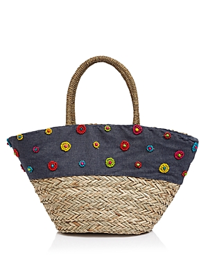 Filippo Catarzi Applique Straw Tote