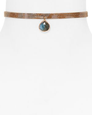 Ela Rae Lavender Embossed Pendant Choker Necklace, 12