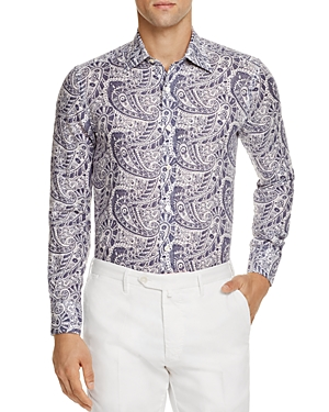 Canali Large Paisley Linen Regular Fit Button-Down Shirt