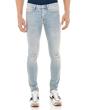 Sandro Iggy Used Destroyed Slim Fit Jeans in Blue Vintage