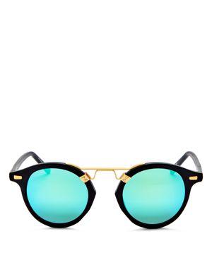 Krewe St. Louis 24K Mirrored Round Sunglasses, 46mm