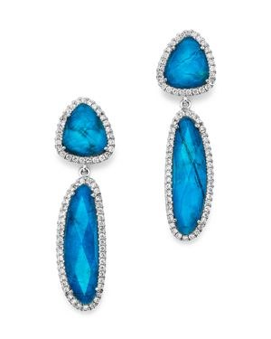 Meira T 14K White Gold Chrysocolla Doublet and Diamond Dangle Earrings