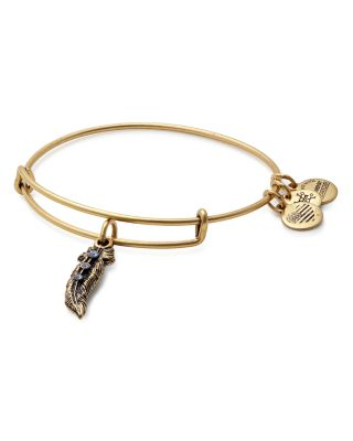 ALEX AND ANI Feather Adjustable Wire Bangle in Russian Gold
