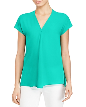 Lauren Ralph Lauren Cap Sleeve Pleat Top