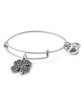 ALEX AND ANI Four-Leaf Clover Adjustable Wire Bangle (Nordstrom Exclusive) in Russian Silver