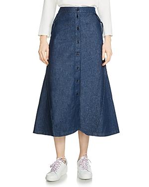 Maje Jingrid Denim Midi Skirt