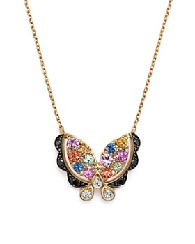 """Bloomingdale's - Multi Sapphire Butterfly Pendant Necklace with Black and White Diamonds in 14K Yellow Gold, 16""""- 100% Exclusive"""