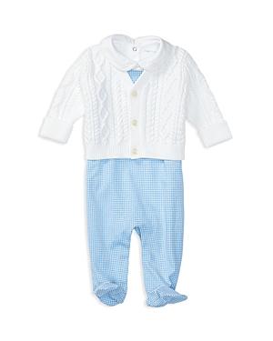 Ralph Lauren Childrenswear Infant Boys' Cardigan, Bodysuit & Overalls Set - Sizes 3-9 Months