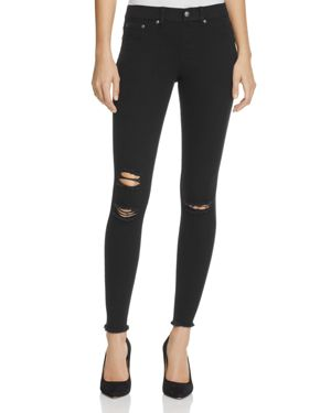 HUE RIPPED KNEE DENIM LEGGINGS