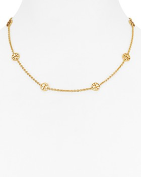 Tory Burch - Delicate Logo Necklace, 18""