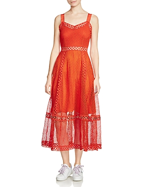 Maje Rita Lace Midi Dress