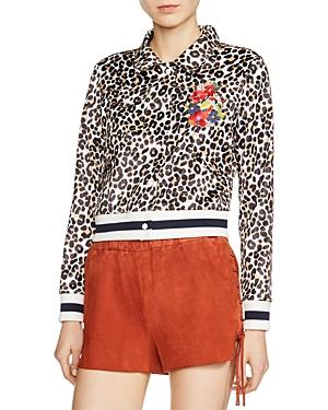 Maje Vesper Leopard-Print Jacket