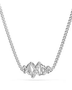 David Yurman - Crossover Single Station Necklace with Diamonds
