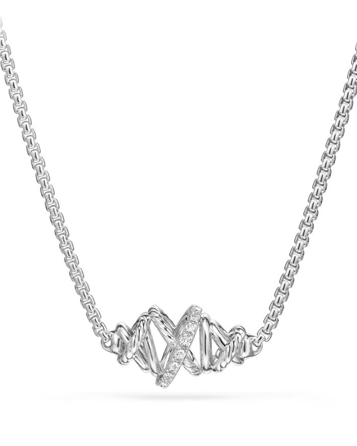 David Yurman Crossover Single Station Necklace with Diamonds  | Bloomingdale's