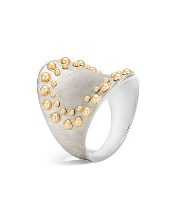 JOHN HARDY - 18K Yellow Gold and Sterling Silver Dot Saddle Ring