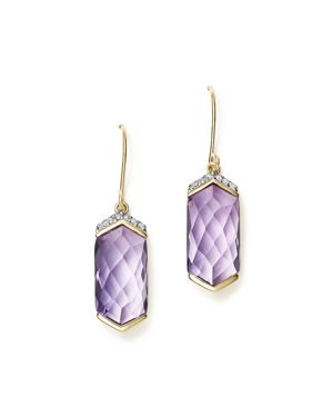 Amethyst Drop Earrings with Diamonds in 14K Yellow Gold - 100% Exclusive