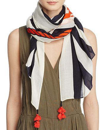 Tory Burch - Oversized Nautical Logo Oblong Scarf
