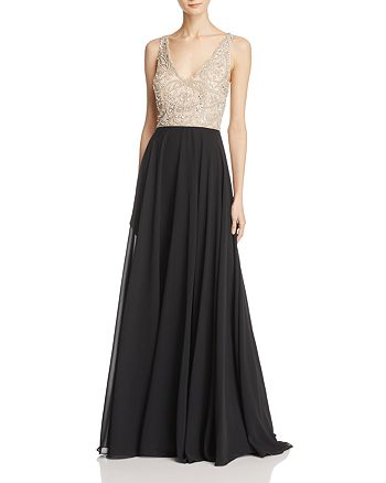 Aidan Mattox - Embellished-Bodice Gown