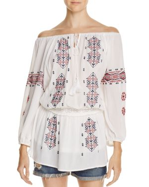 Freeway Embroidered Off-the-Shoulder Tunic