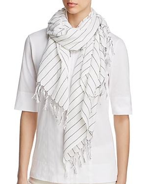 Eileen Fisher Contrast Stitching Organic Cotton Scarf at Bloomingdale's
