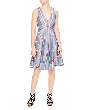 Sandro Chear Striped Mesh Dress