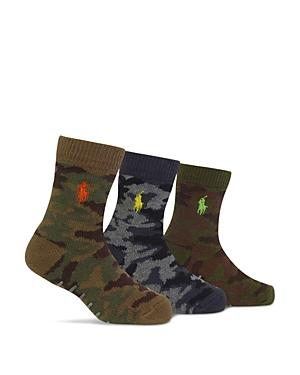Ralph Lauren Childrenswear Boys Camo Socks 3 Pack  Baby