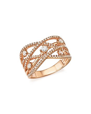 Bloomingdale's - Diamond Crossover Ring in 14K Rose Gold, .65 ct. t.w. - 100% Exclusive