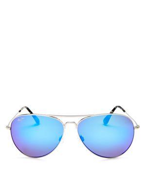 MAUI JIM Mavericks 61Mm Polarizedplus2 Aviator Sunglasses - Silver/ Blue Hawaii in Silver Shiny/Blue Mirror Polar