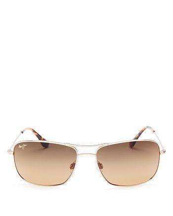 Maui Jim - Men's Wiki Wiki Polarized Brow Bar Square Sunglasses, 57mm