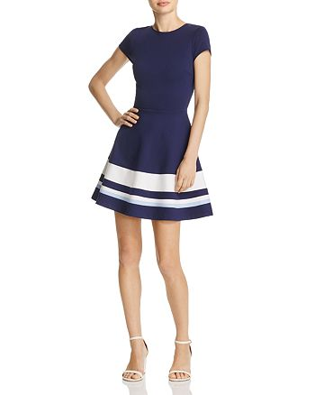 AQUA - Short Sleeve Color-Block Dress- 100% Exclusive
