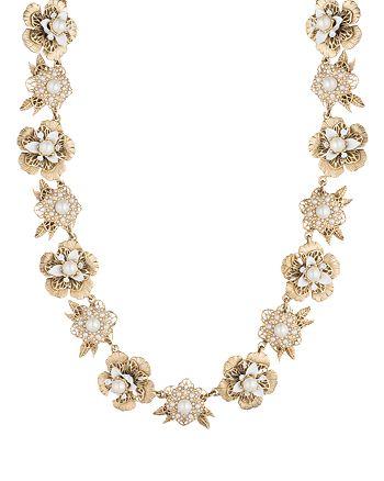 """Marchesa - Flower Collar Necklace, 16"""""""