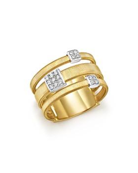 Marco Bicego - 18K White and Yellow Gold Masai Three Row Pavé Diamond Ring