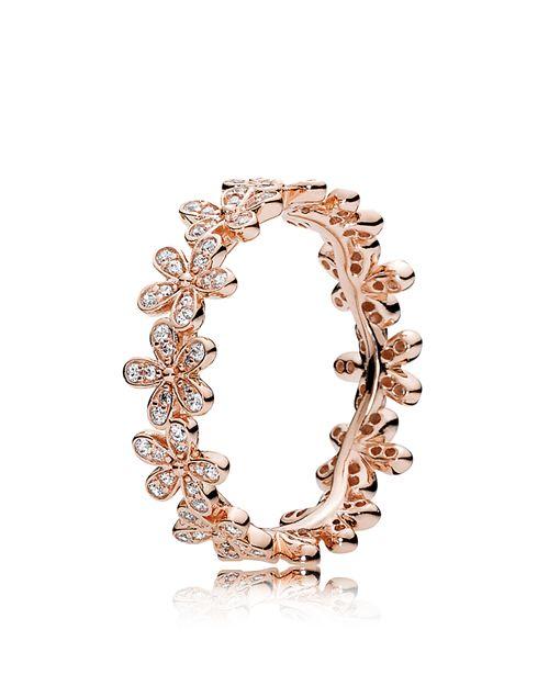 PANDORA - 14K Gold, Sterling Silver & Cubic Zirconia Dazzling Daisies Ring
